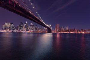 bridge, river, city