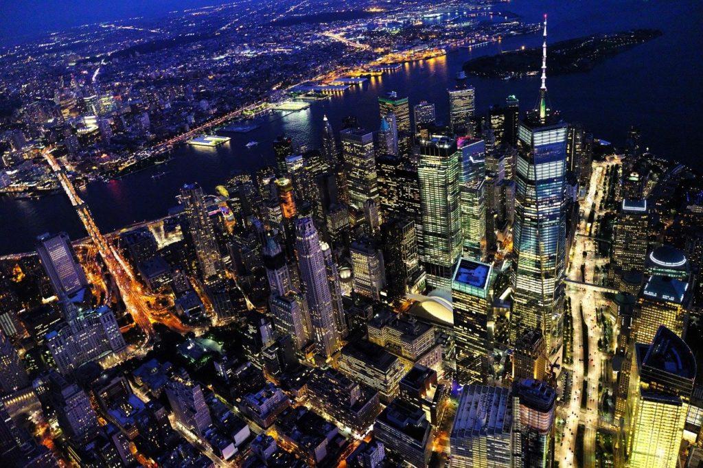 new york, cityscape, night